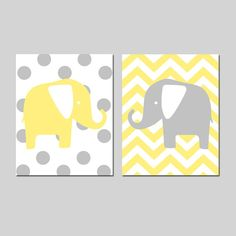 Elephant Nursery Art Duo  Chevron and Polka Dots  Set by Tessyla