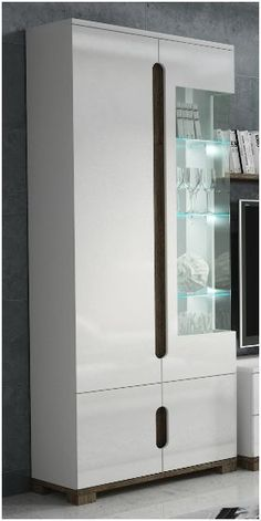 Lorenz High Gloss White Glass Door Tall Display Cabinet Lounge Unit With Lights in Home, Furniture & DIY, Furniture, Bookcases, Shelving & Storage | eBay