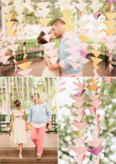 Lovely DIY colorful triangle ceremony garlands
