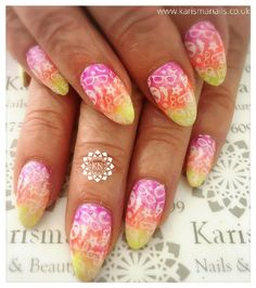 Acrylics with a triple blend colour and stamping design for Suzanne by Cara   www.karismanails.co.uk  #alittlebitofzhuzh