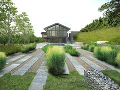 INTEGRATION- I like the linear design and the integration of multiple materials and surfaces. The grass transitions into stone and gravel with integration of taller grasses/bushes. There's multiple variation of materials within the same design pattern.