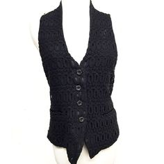 ANNA SUI SILK AND KNIT WAIST VEST M Classic in a back crocheted knit front sheer silk back. Buttons in front with tie at back. 2 front pocket slits. Falls waistline. Good condition. RETAIL $245 Anna Sui Jackets & Coats Vests