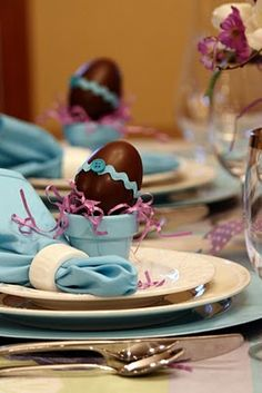 flowerpots with chocolate eggs