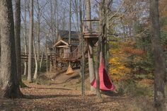 Pete builds an adventure-theme two-story structure overlooking a gorge in Pennsylvania's Pocono Mountains that features suspension bridges, a rock-climbing wall and a sleeping loft, as well as a tribute to the family's grandmother.