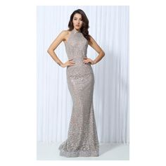Glam Affair Silver Nude Glitter Sequin Sleeveless Mock Neck Halter... ($168) ❤ liked on Polyvore featuring dresses, gowns, maxi dress, silver sequin evening gown, silver evening dresses, halter tops and sequined dresses