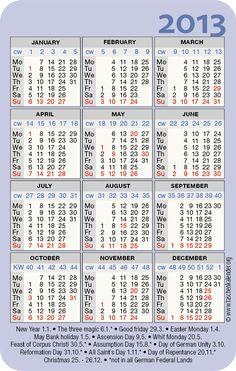 german bank holidays 2013 in a english calendar (card format)
