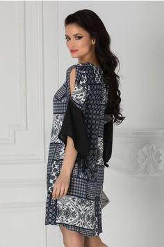 Rochie Moze bleumarin cu print divers si maneci evazate Dresses With Sleeves, Long Sleeve, Floral, Casual, Fashion, Moda, Sleeve Dresses, La Mode, Gowns With Sleeves