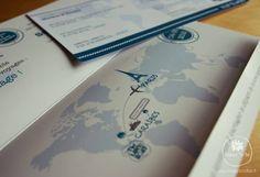 Intérieur du faire-part de mariage carte d'embarquement sur le thème croisière s'amuse
