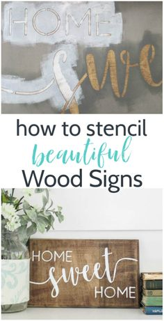 One of the easiest ways to make beautiful DIY wood signs is with a stencil. But if you don't know what you're doing, there is a good chance you will end up with a smeary mess instead of a beautiful sign. You've got to see these simple tricks to getting perfect stencil lines every time - this is going to make your next stencil DIY the easiest yet! Painted Wooden Signs, Carved Wood Signs, Diy Wood Signs, Custom Wood Signs, Stencils For Wood Signs, Stencil Wood, Stencil Diy, Diy Wood Wall, Wood Vinyl