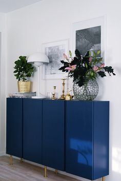 23 Best IKEA Storage Furniture Hacks Ever Navy IKEA Ivar cabinets with brass legs look super stylish Ikea Storage Furniture, Dining Furniture, Painted Furniture, Furniture Ideas, Ikea Storage Cabinets, Ikea Furniture Makeover, Apartment Furniture, Furniture Online, Furniture Layout