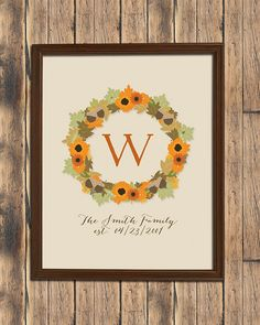 Personalized Fall Wreath Print by jpurifoy on Etsy, $14.99 #housewarming #weddinggift #wallart #homedecor #style #designlove #interiorstyling #artwork #interiordecoration #interiordecor #interiordesign #gallerywall #print #personalized #personalizedart #fall #autumn #thanksgiving