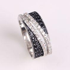 2017 mujeres negro zirconia anillo de bodas de la joyería de la señora de moda de lujo anillos de compromiso anillo de circonio Checa ee.uu. 6 7 8 9