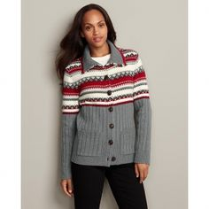 Eddie Bauer Women's Fair Isle Mockneck Cardigan Sweater