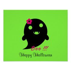 """Cute  Ghost With Flower And Word """"Boo"""" Poster - halloween decor diy cyo personalize unique party"""