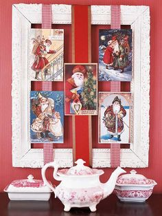 "Everyone knows that old Saint Nick is a holiday fixture — so give his cards a special Christmas display. Gather a collection of Santa Claus cards together in a vintage frame. The cards are mounted on the ribbons with tape, then draped and taped (or tacked) around the back of the frame. We promise this clever display will put you on the ""Nice"" list."