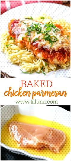 #bakedchickenparmesan #chickenparmesan #breadedchicken #bakedch... Italian Baked Chicken, Breaded Chicken, Marinara Sauce, Melted Cheese, Parmesan, Pasta, Meat, Baking, Dinner Ideas