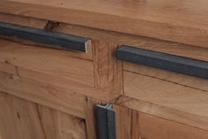 Home office space. Reclaimed French oak. Black coloured MDF. Steel.