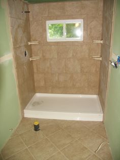 Stand Up Shower And Floor Tile Different Color With A Decorative Ban Of Tile