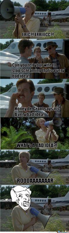 jurassic park world More memes, funny videos and pics on Jurassic Park Funny, Jurassic Movies, Jurassic World 2015, Jurassic Park Series, Jurassic World Dinosaurs, Narnia, Jurrassic Park, World Movies, Clean Jokes