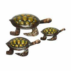 "Metal Turtles Sculptures Set of 3 14"" 10"" 8""   eBay"