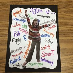 Character Traits and Making Your Students Feel Special. This would be a great le… Character Traits and Making Your Students Feel Special. This would be a great lesson on adjectives too! Beginning Of The School Year, First Day Of School, Middle School, High School, Back To School Art, Classroom Activities, Classroom Organization, Adjectives Activities, Descriptive Writing Activities