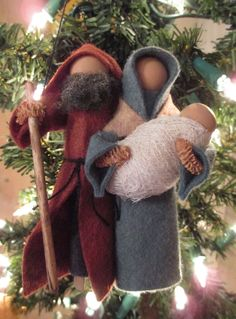 Handmade Christmas Ornament - Jesus, Mary, and Joseph, Made to Order. $20.00, via Etsy.