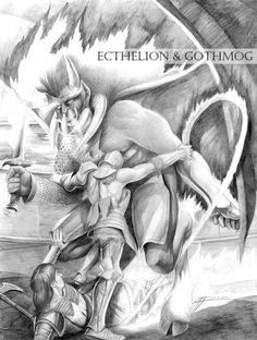 Ecthelion and Gothmog ~ Abe Papakhian.