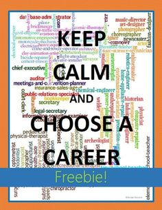 Keep Calm and Choose a Career FREE poster. Goes great with Georgia's College and Career Readiness lessons, the 5th Grade Career Portfolio Project for CCRPI, or any career report project! This freebie is part of an awesome career research bundle that has everything you need for upper elementary & middle school career reports (career cluster activities, graphic organizers, & career report examples for students). CCRA.W2  CCRA.W4 CCRA.W5 CCRA.W6 CCRA.W7  CCRA.W8 CCRA.W9 CCRA.W10