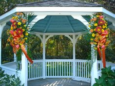 gazebo decor fall wedding oranges and yellow