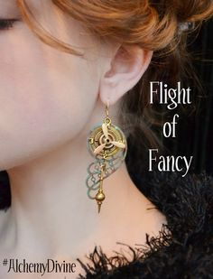 Steampunk Chandelier Earrings Propeller Compass by AlchemyDivine