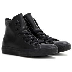 Converse mytheresa.com Exclusive Chuck Taylor All Star Leather... found on Polyvore featuring shoes, sneakers, converse, sapatos, black, black leather sneakers, leather sneakers, black leather shoes, converse high tops and black high top shoes
