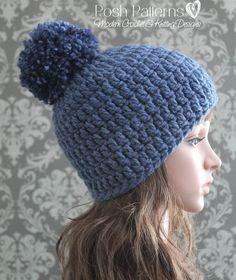 Crochet PATTERN - Easy Crochet Pom-Pom Beanie Pattern