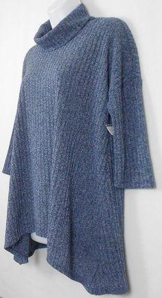 Sonoma Womens Tunic Top Blue Size M 3 4 Sleeve Ribbed Shark Bite Knit Shirt  #Sonoma #Tunic #Casual