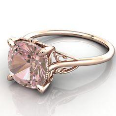 Portia 8mm x 8mm AAA Cushion Morganite Filigree Custom Bezel Diamond Design 14k Rose Gold Ring