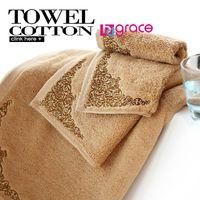 5 hoteles de estrellas Normas de algodón de fibra Jacquard relieve toalla de baño y la cara Conjuntos Toalla