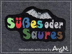 Aufnäher süßes o. saures Fledermaus ♥ Applikation von AnCaNi auf DaWanda.com