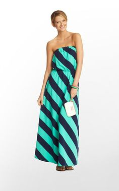 Marlisa Dress in Lagoon Green Always A Party Stripe $178 (w/o 12/29/12) #lillypulitzer #fashion #style