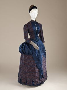 Woman's Dress, circa 1885, England. Silk plain weave with warp-float and supplementary weft patterning, and silk satin. (M.2007.211.781a-b) LACMA Collections Online