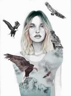 Girl with wild animals eagles in illustration by naranjalidad, €15.00