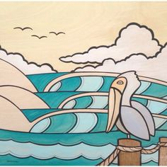 Pelican and Waves - surf art by Joe Vickers - surf and ocean paintings and design