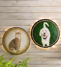 Custom Pet Portrait Wall Art -  turn a photo of your beloved pet into a work of art! Photo is hand-painted onto a reclaimed metal drum lid by Balinese artisans