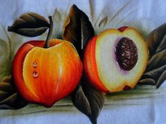 como pintar Pêssegos em tecido