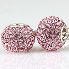 Rosa strass pave bola Original 925 encantos de prata serve para pandora pulseiras SW3014 atacado(China (Mainland))
