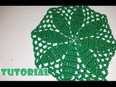 Tutorial spiegazione centrino fiore verde all'uncinetto -Crochet flower-facile - YouTube