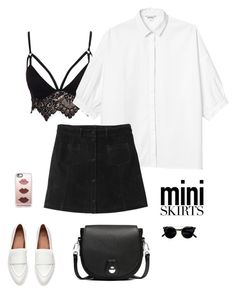 """Mini skirt"" by sarasav ❤ liked on Polyvore featuring Club L, Monki, rag & bone and Casetify"