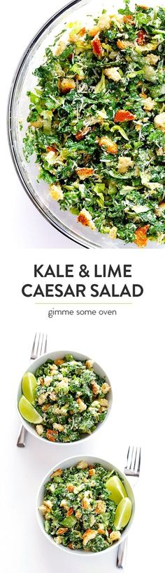 Kale Caesar Salad -- made with a lighter and delicious lime Caesar dressing | gimmesomeoven.com #kalesalad #saladrecipe #healthy #caesarsalad