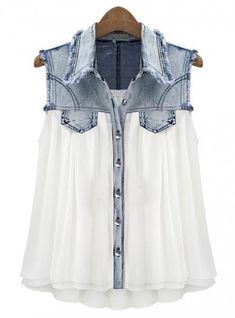 Stitching Denim Lapel Sleeveless White Chiffon Shirt
