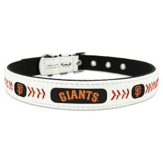 MLB San Francisco Giants Classic Leather Baseball Dog Collar by Gamewear, Inc.. $21.99. wear the game. Collars are made of genuine game ball leather. Officially licensed by Major League Baseball. Contains official team logo. Show off your favorite Major League Baseball team by having your pet wear this stylish, officially licensed baseball collar from GameWear. Each collar is made from genuine game ball leather and is adorned with your favorite team's logo and co...
