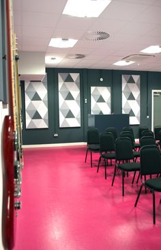 Live Room - Audience - Pink Flooring - Norament Satura - Rubber Floor - Bright- Pattern - Art - Wall Cover - Soundsorba Accoustic Wall Panels - Guitar - Contrast - Black - White - Grey - BIMM Dublin, Music College, The Coombe, Dublin, Ireland, by Think Contemporary