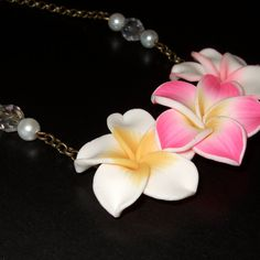 Flower Necklace Polymer Clay Summer Fashion by flonightingales
